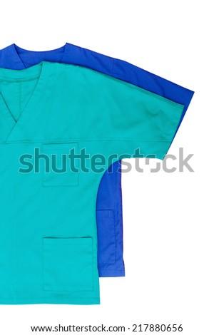 Medical clothing isolated on white - stock photo