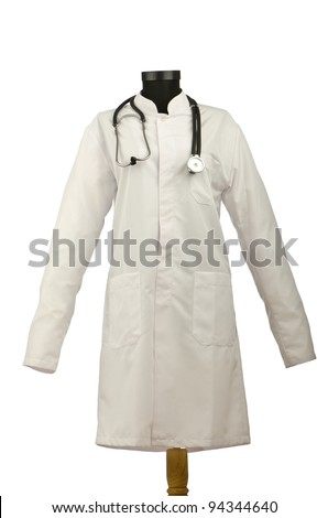 Medical coat and stethoscope isolated on white