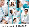 Medical collage composed of photos on a dentistry topic - stock photo