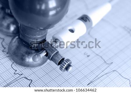 Medical concept. Monochrome photos of electrocardiogram - stock photo