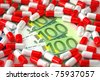 Medical concept showing capsules with hundred Euro bills - stock