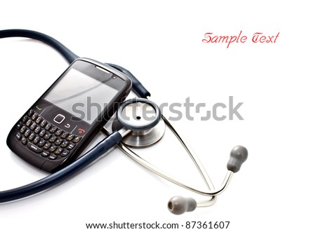 medical concept, smart phone and stethoscope - diagnosing the problem via mobile phone - stock photo