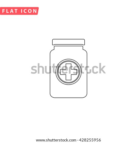 Medical container. Black outline simple pictogram on white. Line icon - stock photo