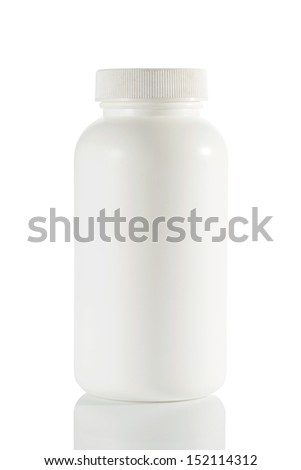 Medical container on white background.
