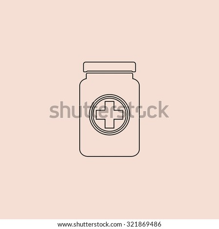 Medical container. Outline icon. Simple flat pictogram on pink background - stock photo