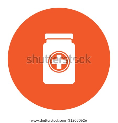 Medical container. Simple flat white icon in the orange circle. illustration symbol - stock photo