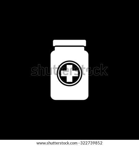 Medical container. Simple icon. Black and white. Flat illustration - stock photo