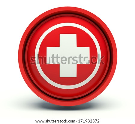 Medical cross sign. 3d render illustration