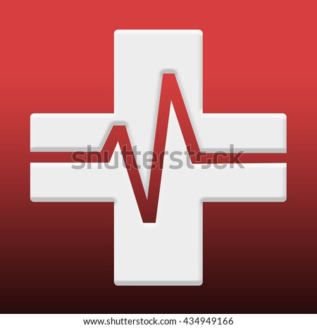 Medical cross symbol with heartbeat (ECG) - medical logo
