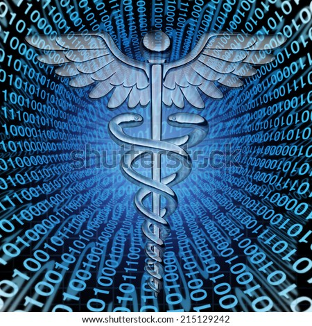 Medical data and the future of health care databases technology concept as a caduceus medicine symbol on a background of binary code as an icon of  hospital patient information management. - stock photo