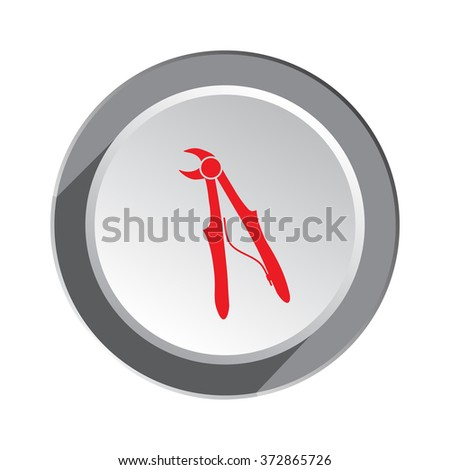 Medical dental tool icon. Stomatological pliers. Health and medicine symbol. 3d round button with shadow.  - stock photo