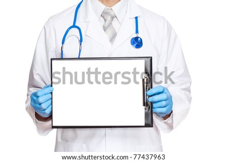 Medical doctor in blue gloves and mask with stethoscope holding isolated blank clipboard, white board, signboard, showing an emty bill board. Isolated over white background. - stock photo