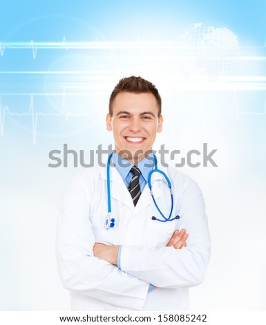 medical doctor man smile with stethoscope folded crossed hands. Happy toothy smiling wear white lab coat over abstract blue medic health care background - stock photo