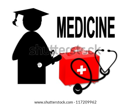 Medical doctor MD / school graduate / stethoscope and first aid kit - illustration / icon isolated on white background - stock photo