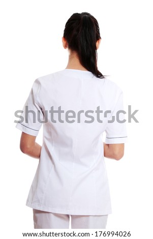 Medical doctor or nurse. Isolated over white background  - stock photo