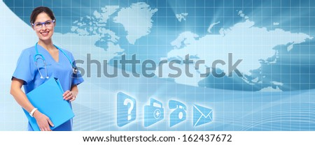 Medical doctor over healthcare banner. Health care background - stock photo