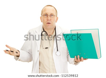 Medical doctor with documents about a patient - stock photo