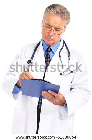 medical doctor with stethoscope. Isolated over white background
