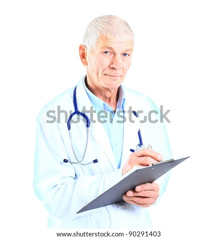 Medical doctor with stethoscope. Isolated over white background - stock photo