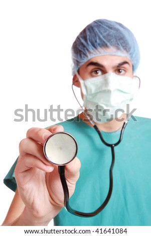 medical doctor with stethoscope. Isolated over white background selective fosus