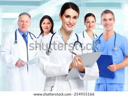 Medical doctor  woman and group of business people.