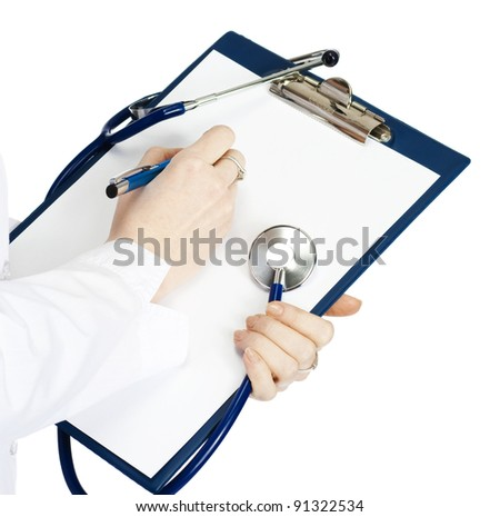 medical doctor woman filling out prescription - stock photo