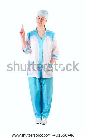 Medical doctor woman smile point finger up.  Isolated over white background