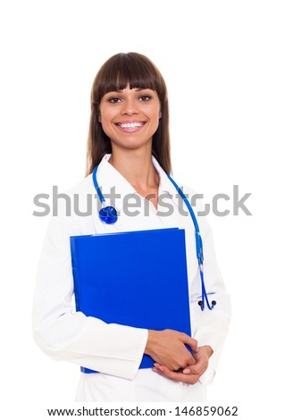 medical doctor woman smile with stethoscope and blue folder. nurse Isolated over white background
