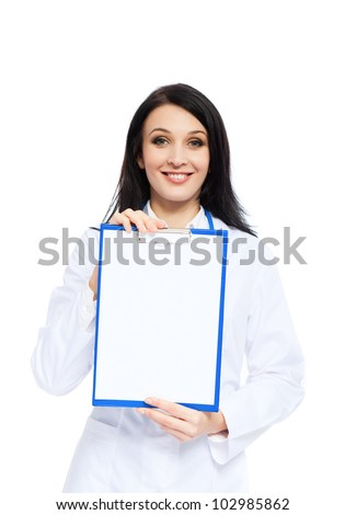 medical doctor woman smile with stethoscope clipboard with empty copy space, concept of advertisement product. Isolated over white background - stock photo