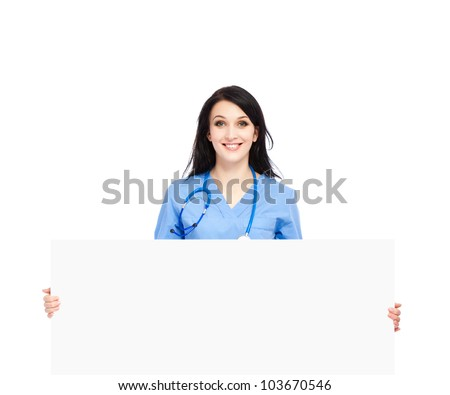 medical doctor woman smile with stethoscope hold blank card board, concept of advertisement product, empty copy space. nurse wear blue surgery suit Isolated over white background - stock photo