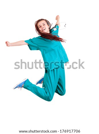 medical doctoror nurse jumping, white background