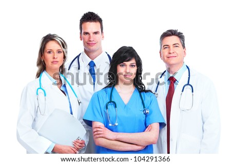 Medical doctors group. Isolated on white background. - stock photo