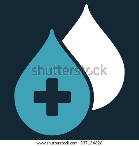 Medical Drops glyph icon. Style is bicolor flat symbol, blue and white colors, rounded angles, dark blue background. - stock photo