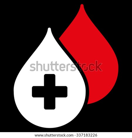 Medical Drops illustration icon. Style is bicolor flat symbol, red and white colors, rounded angles, black background. - stock photo
