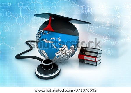 Medical education concept. 3d rendered  books, hat, stethoscope with world  - stock photo