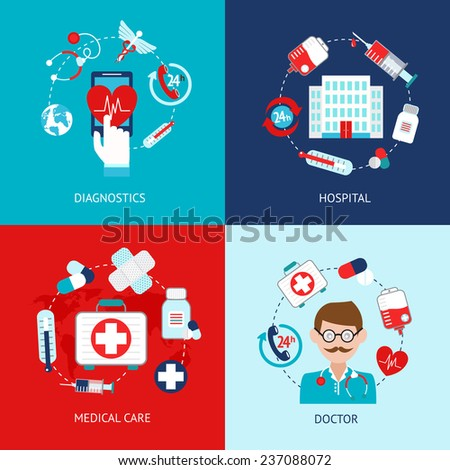 Medical emergency first aid health care icons flat set isolated  illustration - stock photo