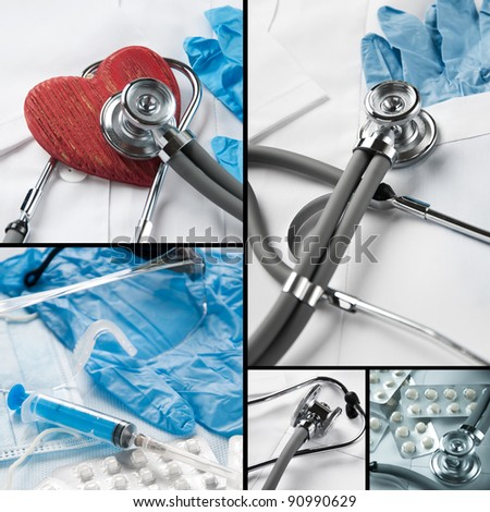 Medical equipment collage - stock photo