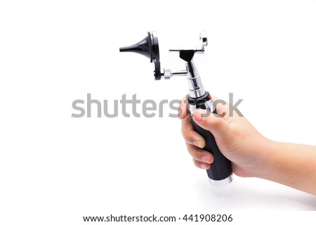Medical equipment diagnostic ear exam.Hand holding Otoscope on white background - stock photo