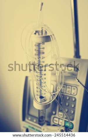 Medical equipment for resuscitation in operating-room , photo filter effect. - stock photo