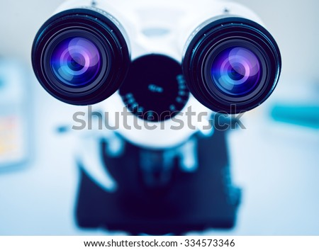 Medical equipment. microscope. Background - stock photo