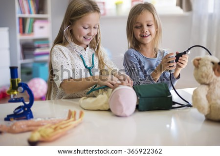 Medical equipment used by little girls