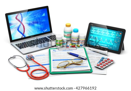 Medical exam and computer diagnostics concept: laptop and tablet PC with diagnostic software on screen, prescription pad, stethoscope, plastic bottles and containers with color pills and heap of drugs - stock photo