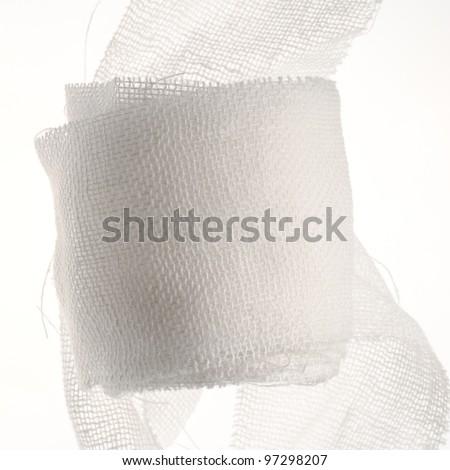 Medical gauze isolated on white - stock photo