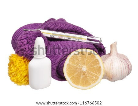 Medical glass mercury thermometer with warm knitted scarf and drops for a nose - stock photo