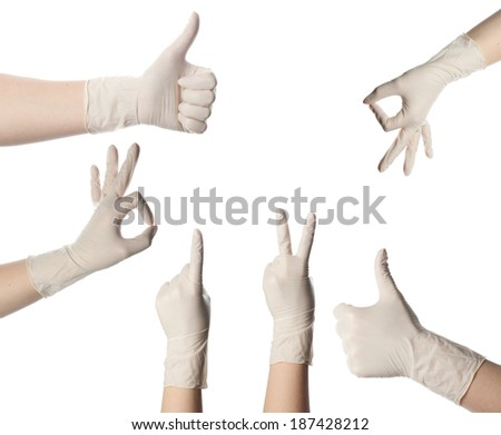 Medical glove to protection and care for patients. Set of symbols. - stock photo