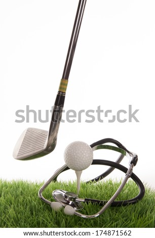 Medical golf scene on a tee in the photo studio