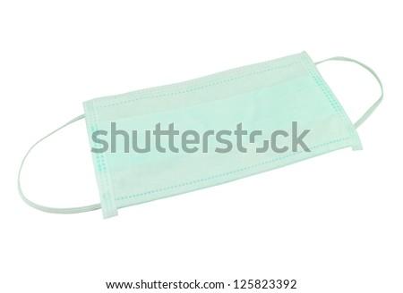 Medical green mask  on white background - stock photo