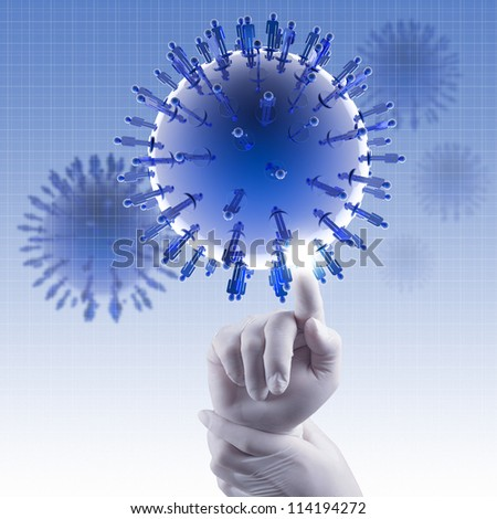 medical  hand touch virtual virus symbol concept - stock photo