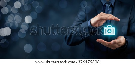Medical (health) and life insurance concept. Insurance agent with protective gesture and icon of nurse briefcase. Wide banner composition and bokeh in background. - stock photo