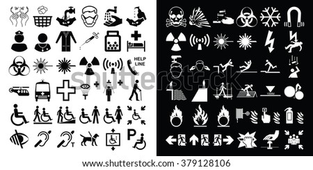 Medical healthcare and hazard warning related icon collection - stock photo